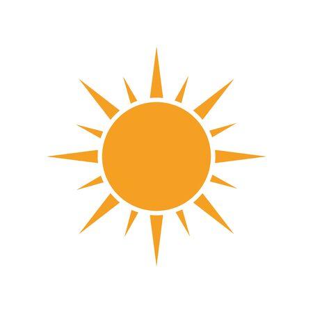 Sun vector icon. Summer sunshine illustration on white isolated background.