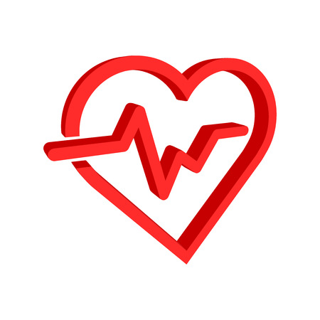 Heartbeat line with heart icon in flat style. Heartbeat illustration on white isolated background.