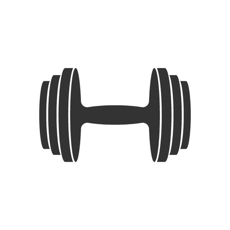 Dumbbell fitness gym in flat style. Barbell illustration on white isolated background.