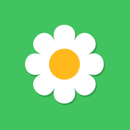 Chamomile flower vector icon in flat style. Daisy illustration on green isolated background.