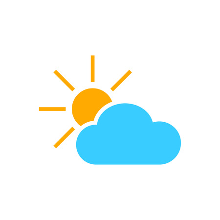 Weather forecast icon in flat style. Sun with clouds illustration on white isolated background. Иллюстрация