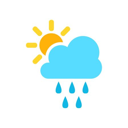 Weather forecast icon in flat style. Sun with clouds illustration on white isolated background. Illustration