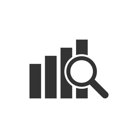 Financial forecast icon in flat style. Business analysis illustration on white isolated background. Çizim