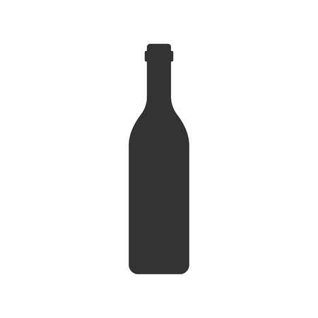 Wine bottle icon in flat style. Alcohol bottle illustration on white isolated background.