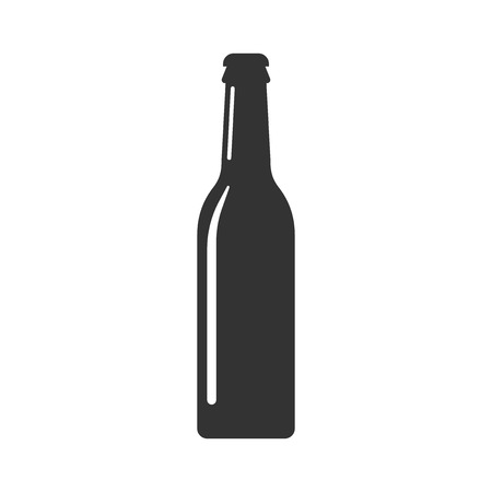 Beer bottle icon in flat style. Alcohol bottle illustration on white isolated background. 矢量图像