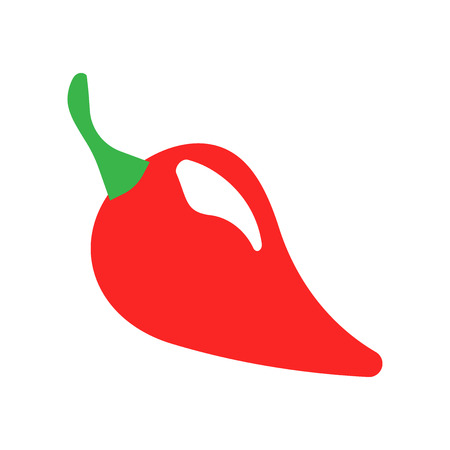 Chili pepper in flat style. Spicy peppers illustration on white isolated background.