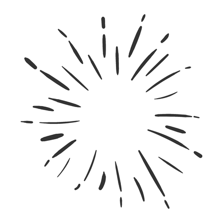 Vintage sunburst vector icon. Sun sketch burst doodle illustration. Hand drawn sunburst concept.
