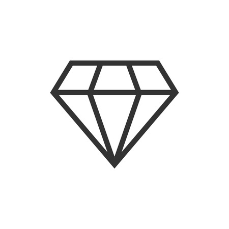 Diamond jewel gem vector icon in flat style. Diamond gemstone illustration on white isolated background. Jewelry brilliant concept.