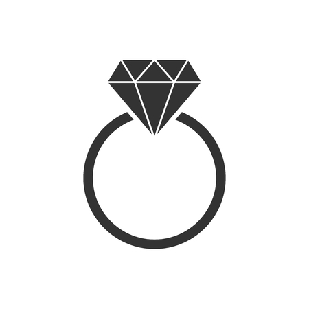 Engagement ring with diamond vector icon in flat style. Wedding jewelery ring illustration on white isolated background. Romance relationship concept.