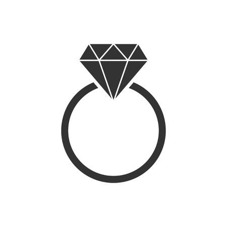 Pierścionek zaręczynowy z ikoną diamentu wektor w płaski. Biżuteria ślubna pierścionek ilustracja na na białym tle. Koncepcja relacji romans.