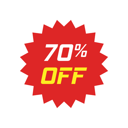 Discount sticker vector icon in flat style. Sale tag sign illustration on white isolated background. Promotion 70 percent discount concept. Illusztráció