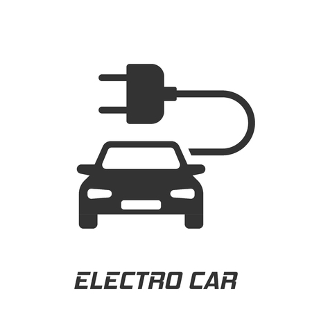 Electro car vector icon in flat style. Electric automobile illustration on white isolated background. Ecology car sedan concept.