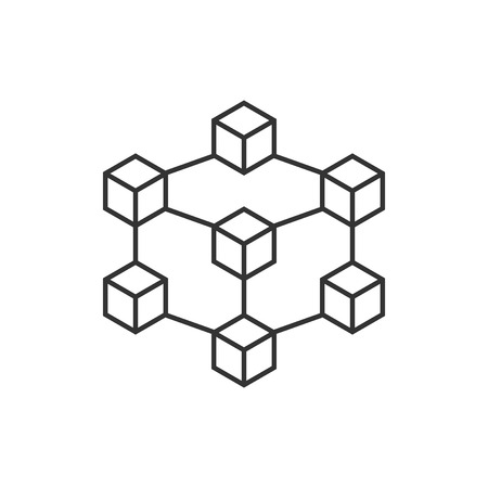 Blockchain technology vector icon in flat style.