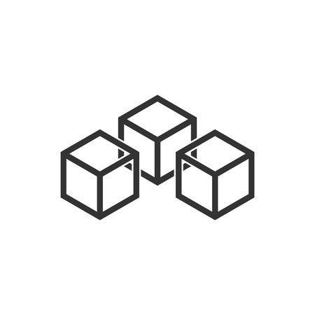 Blockchain technology vector icon in flat style.