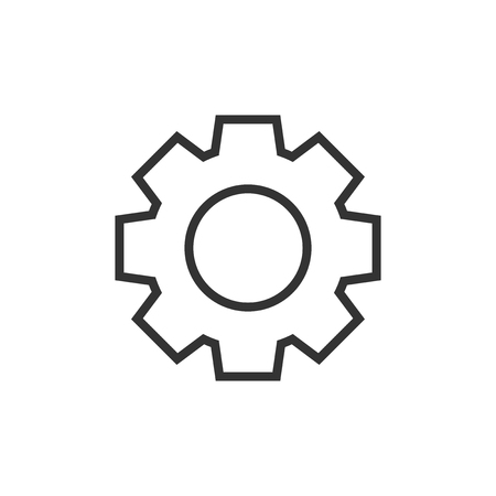 Gear vector icon in flat style.