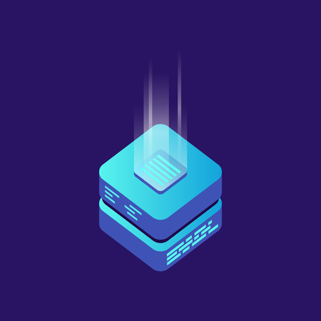 A Mining bitcoin server vector icon in isometric style on Block chain concept.