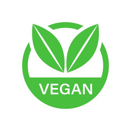 Vegan label badge vector icon in flat style. Vegetarian stamp illustration on white isolated background. Eco natural food concept. Illustration