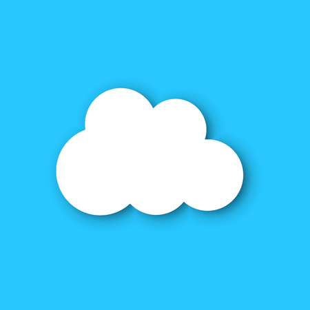 Paper clouds on a blue sky. Ð¡artoon paper cloud illustration background. Cloudscape air business concept.