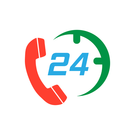 Technical support 247 vector icon in flat style. Phone clock help illustration on white isolated background.