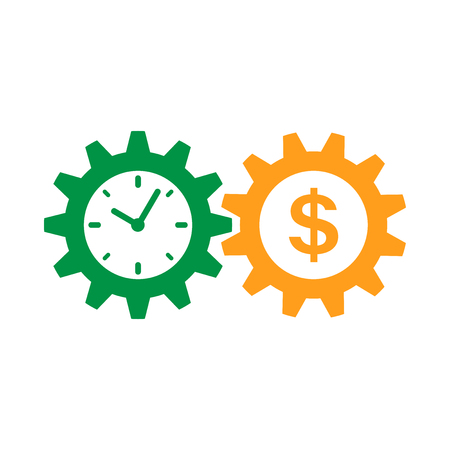 Business and finance management icon in flat style. Time is money illustration on white isolated background. Financial strategy business concept. Stockfoto - 100380982