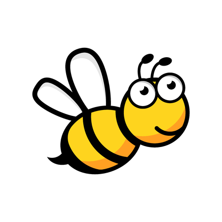 Cartoon bee icon in flat style. Wasp insect illustration on white isolated background. Bee business concept.