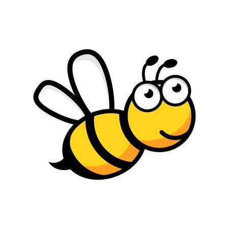 Icône d'abeille de dessin animé dans un style plat. Illustration d'insecte guêpe sur fond blanc isolé. Concept d'entreprise d'abeille. Vecteurs