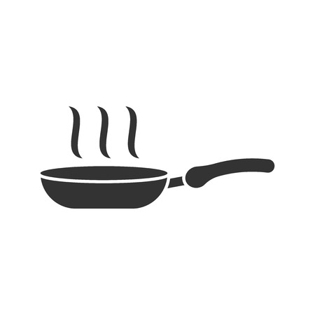 Frying pan icon in flat style. Cooking pan illustration on white isolated background. Skillet kitchen equipment business concept.