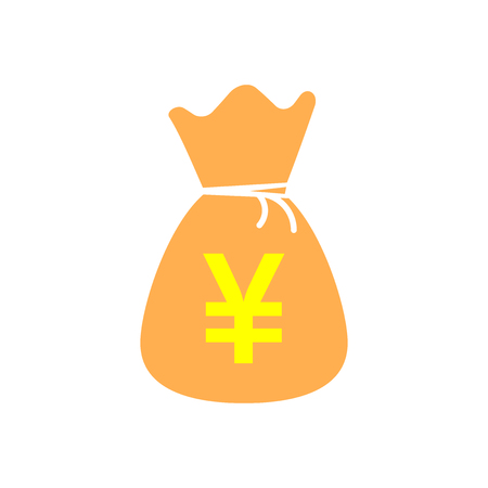 Yen, yuan bag money currency vector icon in flat style. Yen coin sack symbol illustration on white isolated background. Asia money business concept.