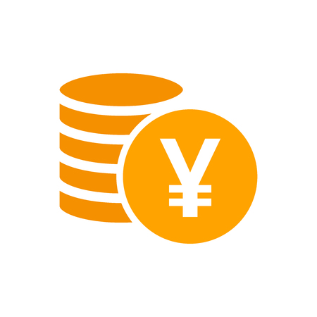 Yen, yuan money currency vector icon in flat style. Yen coin symbol illustration on white isolated background. Asia money business concept.