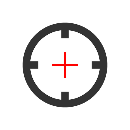 Shooting target vector icon in flat style. Aim sniper symbol illustration on white isolated background. Target aim business concept.