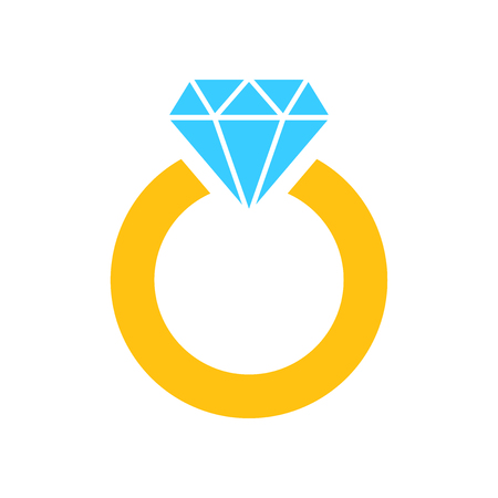 Ring with diamond vector icon in flat style. Gold jewelery ring illustration on white isolated background. Engagement business concept. Illustration