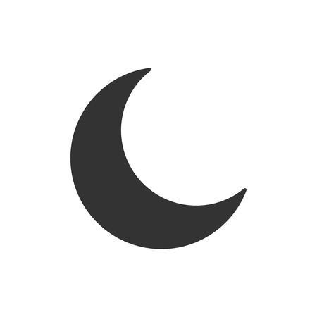Black crescent moon vector icon in flat style on a white isolated background.