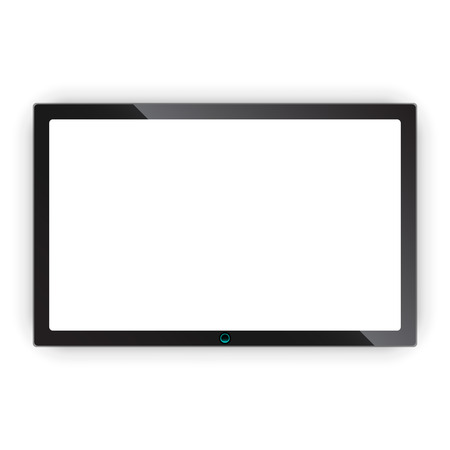 Realistic tv screen vector icon in flat style. Monitor plasma illustration on white isolated background. Tv display business concept. Banco de Imagens - 100383344