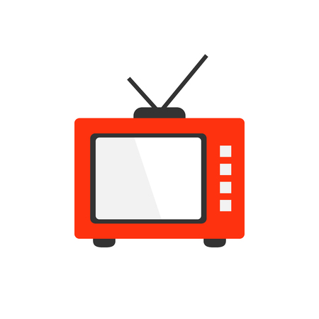 Retro tv screen vector icon in flat style. Old television illustration on white isolated background. Tv display business concept. Illustration