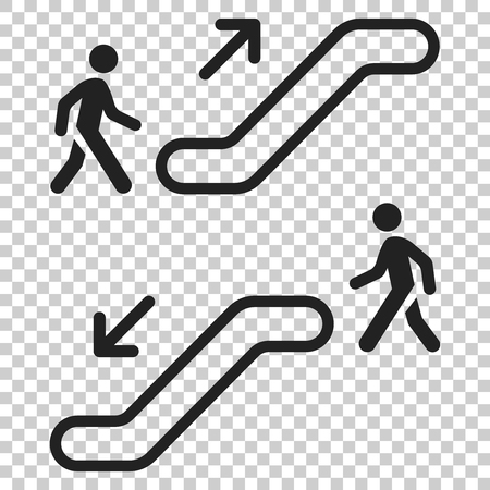 Escalator elevator icon. Vector illustration on isolated transparent background. Business concept escalator pictogram. Illustration