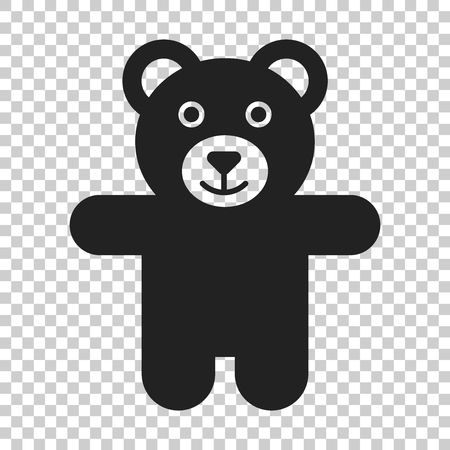 Teddy bear plush toy icon. Vector illustration on isolated transparent background. Business concept bear pictogram. Illustration