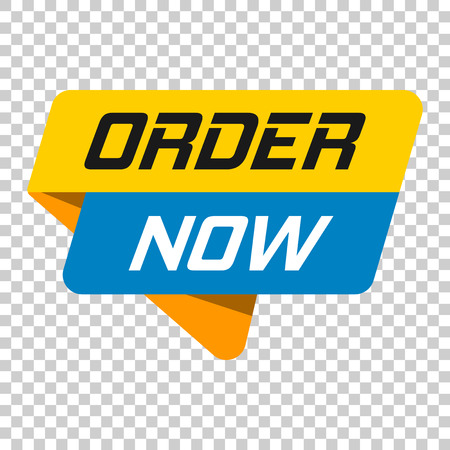 Order now banner badge icon. Vector illustration on isolated transparent background. Business concept order now pictogram. Vettoriali
