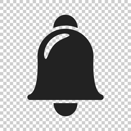 Bell vector icon in flat style. Alarm bell illustration on isolated transparent background. Hand bell sign concept. Illustration