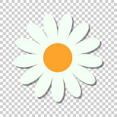 Kamillenblumenvektorikone im flachen Stil. Gänseblümchenillustration auf lokalisiertem transparentem Hintergrund. Kamille Zeichen Konzept.