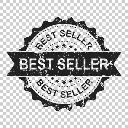 Best seller scratch grunge rubber stamp. Vector illustration on isolated transparent background. Business concept bestseller stamp pictogram.