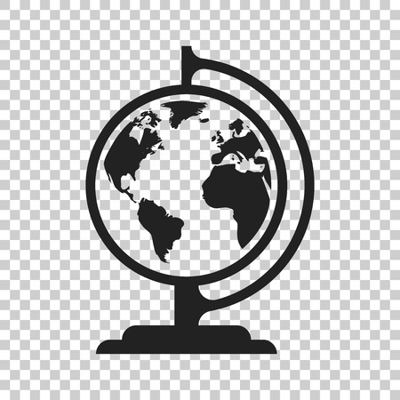 Globe world map vector icon. Round earth flat vector illustration. Planet business concept pictogram on isolated transparent background. Çizim