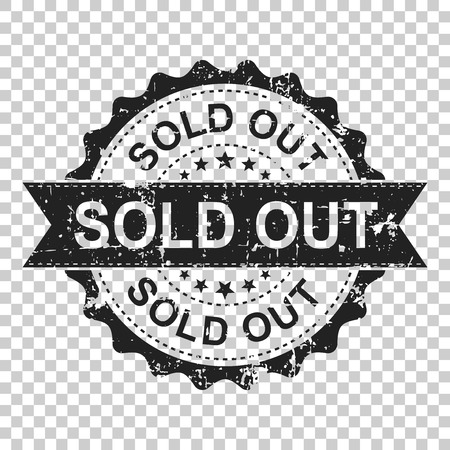 Sold out scratch grunge rubber stamp. Vector illustration on isolated transparent background. Business concept sold stamp pictogram.