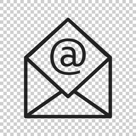 Mail envelope vector icon. Email flat vector illustration. E-mail business concept pictogram on isolated transparent background.