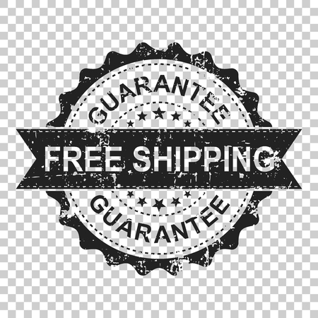 Free shipping scratch grunge rubber stamp. Vector illustration on isolated transparent background. Business concept guarantee free delivery stamp pictogram. Stock Illustratie