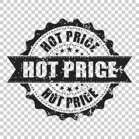 Hot price scratch grunge rubber stamp. Vector illustration on isolated transparent background. Business concept hot price stamp pictogram.