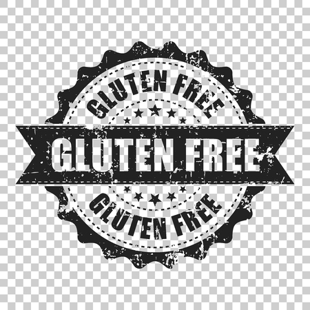 Gluten free scratch grunge rubber stamp. Vector illustration on isolated transparent background. Business concept no gluten healthy stamp pictogram.