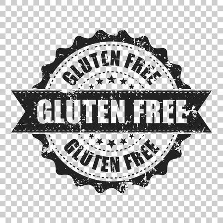 Timbro di gomma grunge zero senza glutine. Illustrazione vettoriale su sfondo trasparente isolato. Il concetto di business senza glutine sano timbro pittogramma.