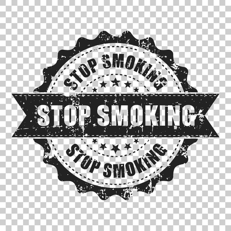 Stop smoking scratch grunge rubber stamp. Vector illustration on isolated transparent background. Business concept no smoke stamp pictogram.