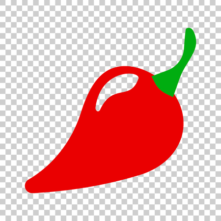 Chili pepper in flat style. Spicy peppers illustration on isolated transparent background. Chili paprika business concept.