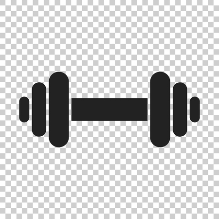 Dumbbell fitness gym in flat style. Barbell illustration on isolated transparent background. Bodybuilding sport concept.